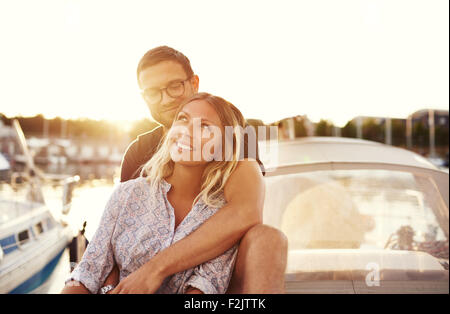 Happy Couple On a Boat, Enjoying Life while In Love - Stock Photo