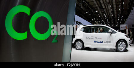 Hanover, Germany. 25th Apr, 2013. A Volkswagen Up stands next to the lettering 'C02' during the VW general meeting - Stock Photo