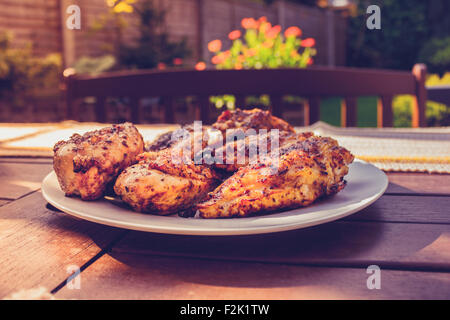 Chicken on a plate outside - Stock Photo
