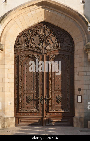 Carved wooden gate of the Hluboka Castle in Hluboka nad Vltavou, South Bohemia, Czech Republic. - Stock Photo