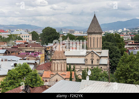 Roofs of old Tbilisi with top of Saint Bethlehem Church, Georgia - Stock Photo