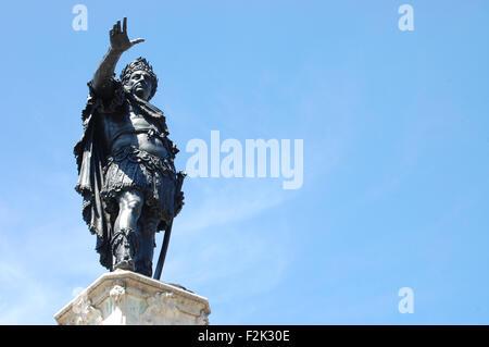 Statue of the Roman Emperor Augustus on top of the Augustusbrunnen (Augustus Fountain) located on the Rathausplatz - Stock Photo