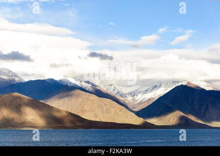 Beautiful reflection of Pangong Lake, Ladakh, India - Stock Photo