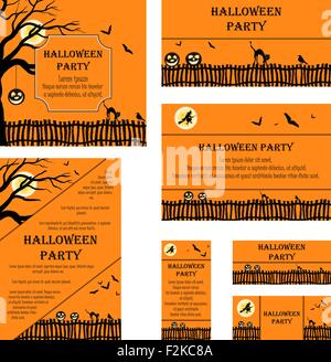 The raven with invitation card to halloween party in a beak free happy halloween greeting set of invitation cards in different size and formats elegant halloween design with tree stopboris Choice Image