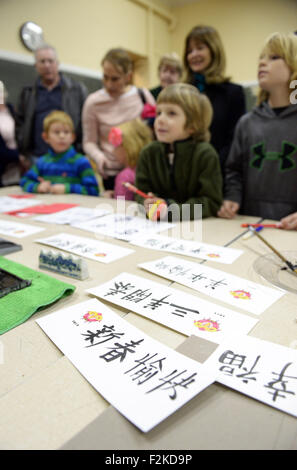 Washington, DC, USA. 9th Feb, 2015. File photo taken on Feb. 9, 2015 shows local children learn Chinese calligraphy - Stock Photo
