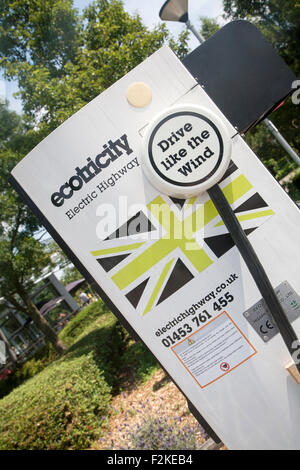 Ecotricity electric highway charging sign site, UK - Stock Photo