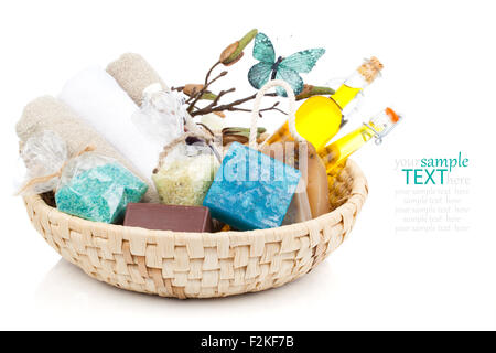 Spa still life with handmade soaps, Sea Salt and oil, on white background - Stock Photo