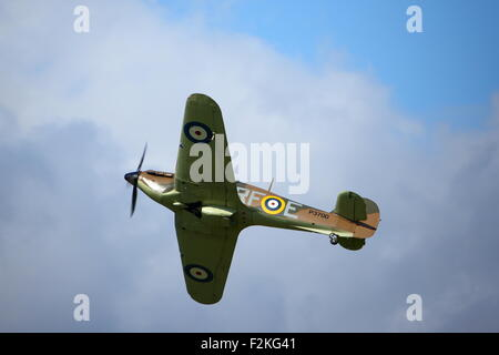 Spitfires and Hurricanes commemorate the 75th Anniversary of the  Battle of Britain at Goodwood Aerodrome - Stock Photo