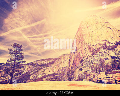 Vintage stylized nature mountain background, Yosemite National Park, USA. - Stock Photo