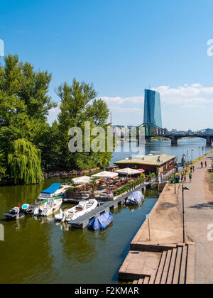 Outdoor restaurant on main river cider gerbermuehle for Central grill frankfurt