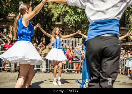 Barcelona, Spain. September 20th, 2015: Dancers take part in the 65th edition of the 'Sardanes groups' competition - Stock Photo