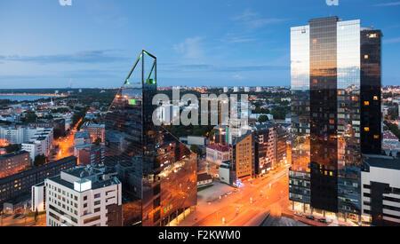 Estonia, Tallinn, Cityview in the evening - Stock Photo