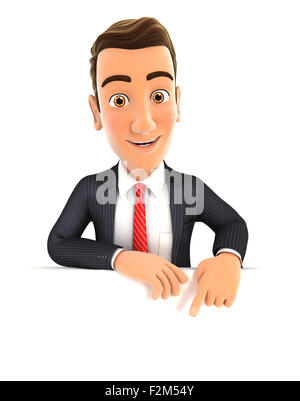 3d businessman pointing to empty wall, isolated white background - Stock Photo