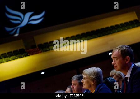 Bournemouth, UK. 21st Sep, 2015. Tim Farron listens to Former Deputy Prime Minister Nick Clegg MP addressing the - Stock Photo
