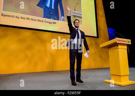 Bournemouth, UK. 21st Sep, 2015. Former Deputy Prime Minister Nick Clegg MP addresses the Liberal Democrat Autumn - Stock Photo