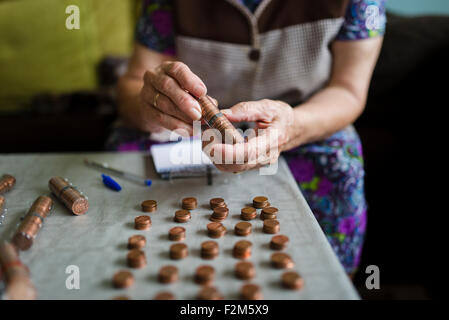 Elderly woman counting money, making stacks of Euro cents - Stock Photo