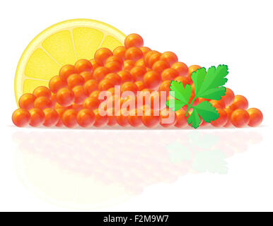 red caviar with lemon and parsley illustration isolated on white background - Stock Photo