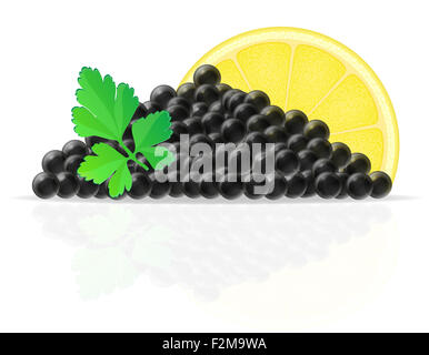 black caviar with lemon and parsley illustration isolated on white background - Stock Photo