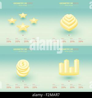 Geometry Abstract 3D Infographic And Icons Design. - Stock Photo