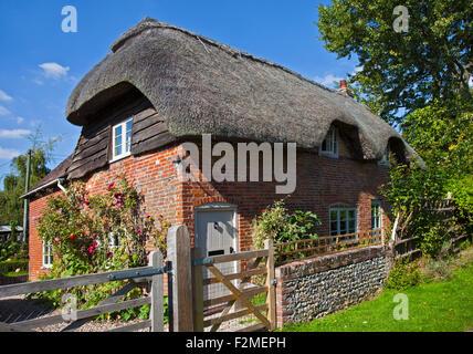 Thatched Cottage, Cheriton, Hampshire, England - Stock Photo