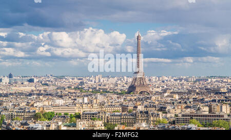Elevated view over the city with the Eiffel Tower in the distance, Paris, France, Europe - Stock Photo