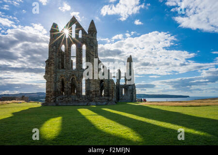 Whitby abbey ruins backlit with shadows Whitby North Yorkshire England Great Britain UK GB EU Europe - Stock Photo