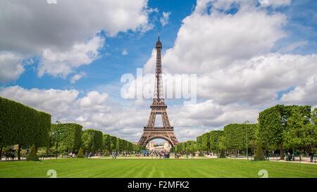 Parc du Champ de Mars, Eiffel Tower, Paris, France - Stock Photo