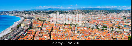 a panoramic view of Nice, France, and the Promenade des Anglais bordering the Mediterranean Sea at the Baie des - Stock Photo