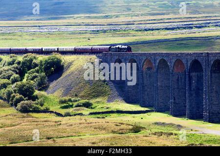 The Fellsman Hauled by 46115 Scots Guardsman Ribblehead Yorkshire Dales North Yorkshire England - Stock Photo