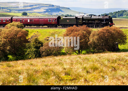 The Fellsman Hauled by 46115 Scots Guardsman and Autumn Colour near Ribblehead Yorkshire Dales North Yorkshire England - Stock Photo