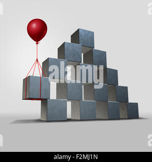 Support business solution concept as a group structure of three dimensional blocks in danger of falling with a key - Stock Photo
