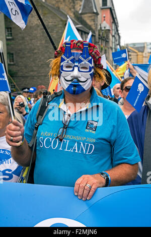 A rally by SNP supporters on the first anniversary of the Scottish Independence Referendum calling for a second - Stock Photo