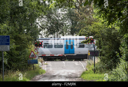Train passing over level crossing Fen Road Milton - Stock Photo
