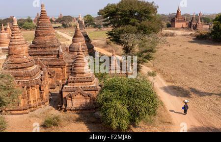 View from Kay Min Gha pagoda at Bagan Myanmar. A woman walking on dirt path between pagodas carries a large basket - Stock Photo