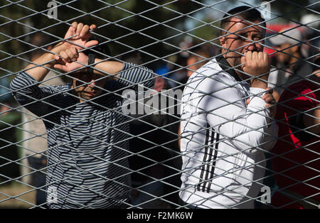 Opatovac, Croatia. 21st Sep, 2015. Refugees lean against a fence in a tent camp near Opatovac, Croatia, 21 September - Stock Photo