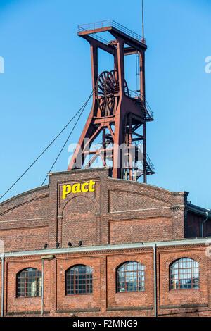 World Heritage Zollverein coal mine in Essen, double winding tower shaft 1/2/8, - Stock Photo