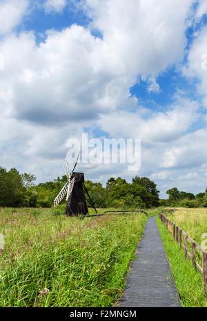 Trail through Wicken Fen, a wetland nature reserve near Wicken, Cambridgeshire, England, UK - Stock Photo