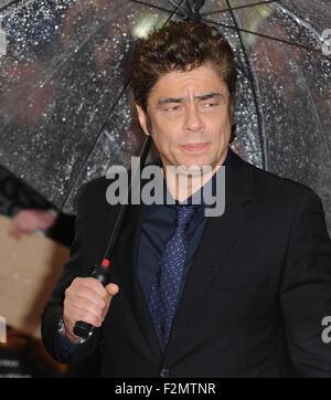 London, UK, UK. 21st Sep, 2015. Benicio Del Toro attends the UK Premiere of 'Sicario' at Empire Leciester Square. - Stock Photo