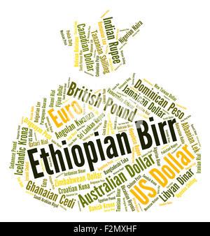 Ethiopian Birr Representing Worldwide Trading And Word - Stock Photo