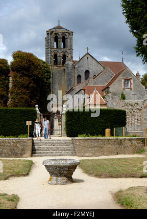 Gardens in the Abbey of Vezelay, Burgundy, France - Stock Photo