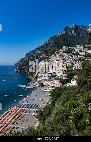 The charming coastal resort village of Positano, Amalfi Coast, Italy - Stock Photo