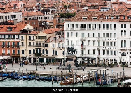 Waterfront architecture and monument to Vittorio Emanuele II, Venice, Italy - Stock Photo