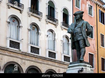 Monument to Italian playwright, Carlo Goldoni, Venice, Italy - Stock Photo