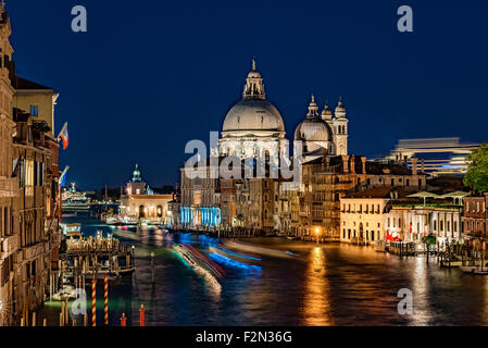 View of the Grand Canal at night, Venice, Italy - Stock Photo