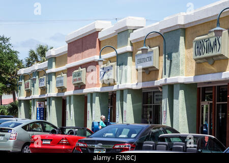 Florida FL South Delray Beach strip mall signs businesses cars vehicles parked - Stock Photo