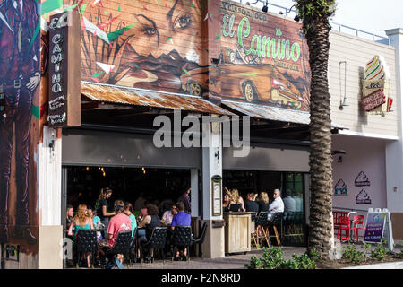Florida FL South Delray Beach Pineapple Grove Arts District 2nd Avenue El Camino restaurant bar front entrance - Stock Photo