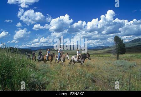 Horseback riders at Tower Junction, Yellowstone National Park, Wyoming, USA. - Stock Photo