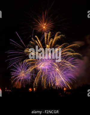 New Year concept - cheering crowd  fireworks - Stock Photo