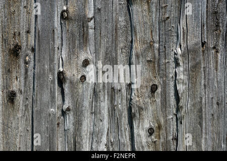 Old weathered wooden planks, wooden slats, on an old barn, Benediktbeuern, Upper Bavaria, Bavaria, Germany - Stock Photo