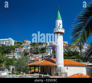 Minaret of the mosque on the 'Mala Plaza' beach in Ulcinj downtown - Stock Photo